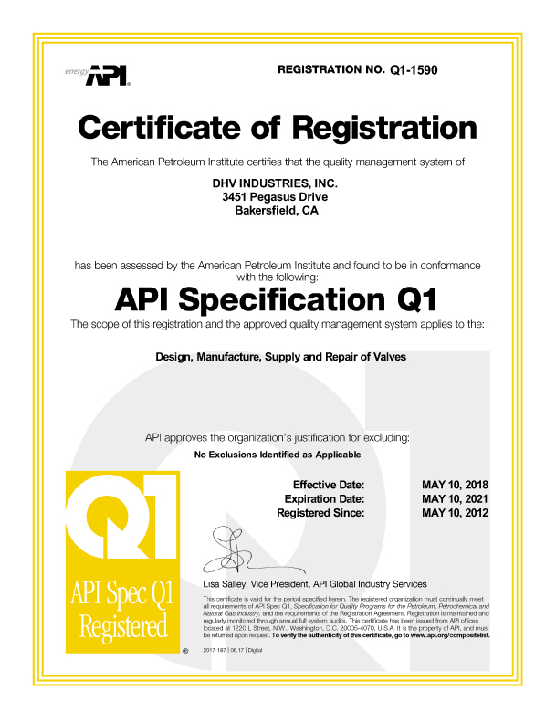 Certification – DHV Industries